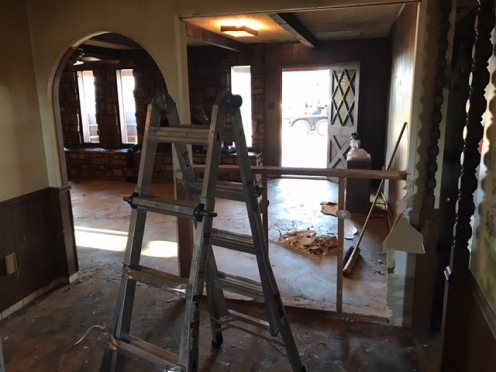 You can now see into the living room from the eat-in space in the kitchen.